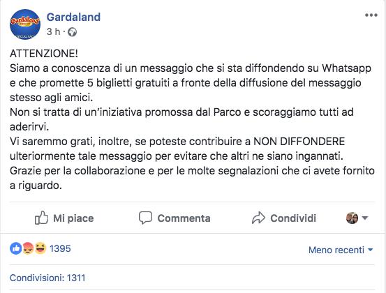 Attenzione alla truffa biglietti omaggio per Gardaland che sta circolando su Whatsapp