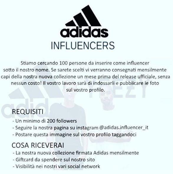 Adidas cerca influencer con meno di 200 Follower? Ecco l'ennesima truffa che corre su Instagram
